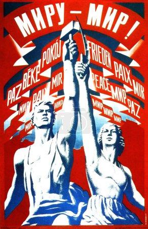 Photo pour Monde - la paix ! - montre le travailleur et la femme kolkhoze - image libre de droit
