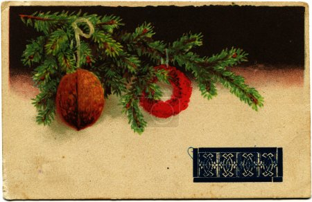 Branch of fur tree with Christmas ball and nut , Poland, 1939 Po