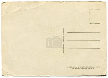 Photo for Back side of an antique post card isolated on white - Royalty Free Image