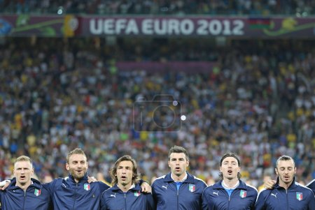 Italy football team players sing the national hymn