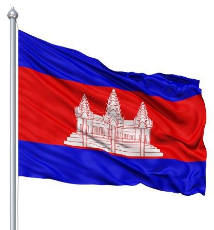 Photo pour Drapeau du Cambodge avec mât de drapeau ondulant dans le vent sur fond blanc - image libre de droit