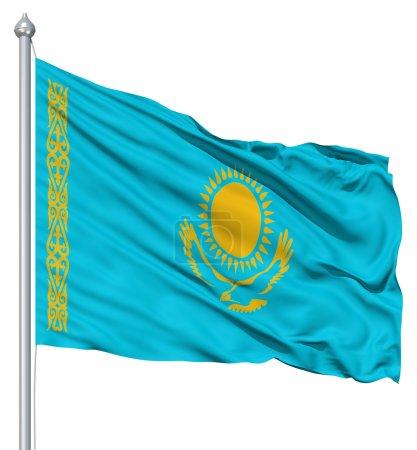 agitant le drapeau du kazakhstan