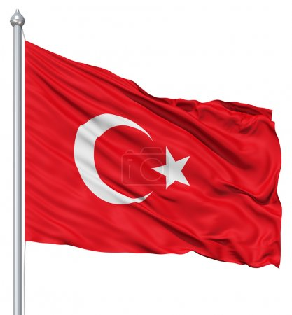 Photo pour Drapeau de la Turquie avec mât de drapeau ondulant dans le vent sur fond blanc - image libre de droit