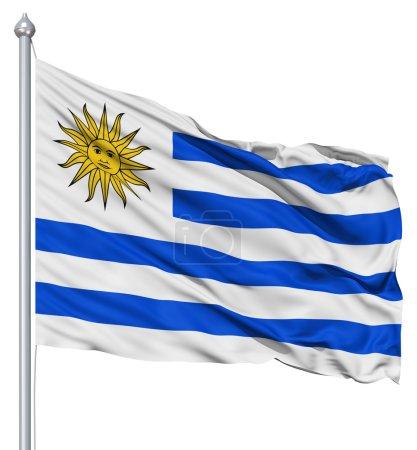 Photo pour Drapeau de l'uruguay avec mât de drapeau ondulant dans le vent sur fond blanc - image libre de droit