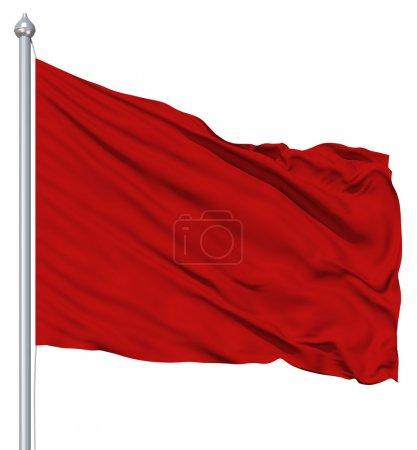 Photo pour Rouge drapeau blanc avec mât de drapeau ondulant dans le vent sur fond blanc - image libre de droit