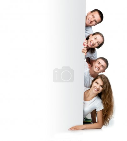 Photo for Group of young looking out white board. - Royalty Free Image