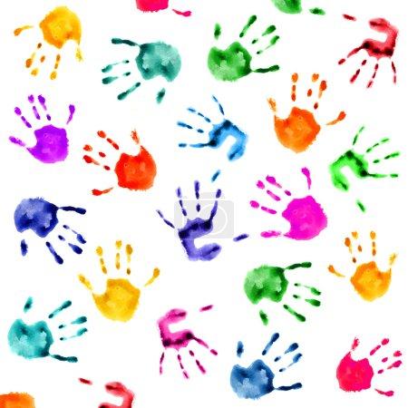 Photo pour Empreintes colorées isolées sur fond blanc - image libre de droit
