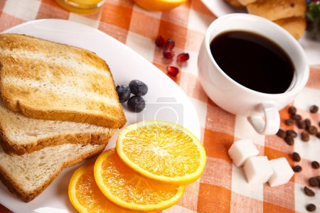 Photo for Breakfast with toasts jam and fruits - Royalty Free Image