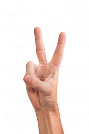 Photo for Hand with two fingers up in the peace or victory symbol. Also the sign for the letter V in sign language. Isolated on white. - Royalty Free Image