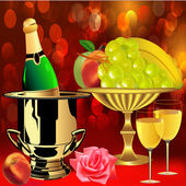 Bottle champagne fruit rose and goblets