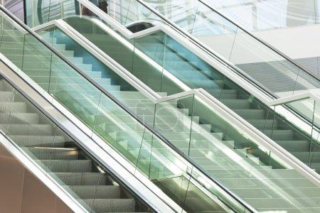 Two escalators in modern business center