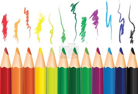 Illustration for A set of colored pencils with the shading. Vector illustration. - Royalty Free Image