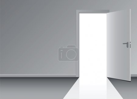 Illustration for Open the door to the doorway. Vector illustration. - Royalty Free Image