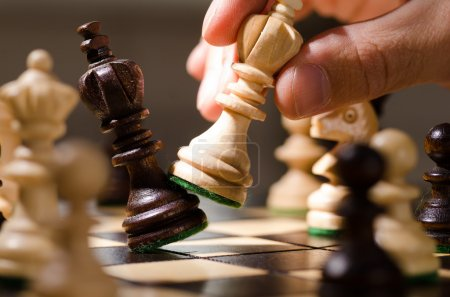 Photo for Playing wooden chess pieces close up - Royalty Free Image