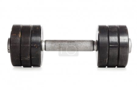 One used metal barbell