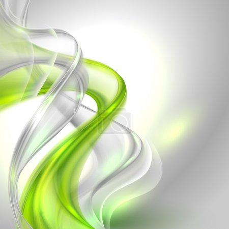 Illustration for Abstract gray waving background with green element (blends, 10EPS, transparency) - Royalty Free Image