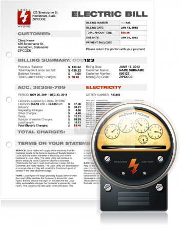 Electric Bill with Electric Counter Vector
