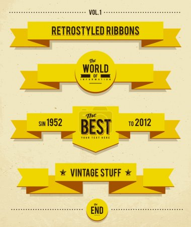 Illustration for Retro syled ribbons vector set. - Royalty Free Image