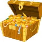 Illustration of treasure chest full of gold...