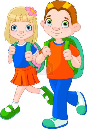 Illustration for Illustration of girl and boy go to school - Royalty Free Image