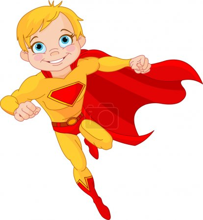 Illustration for Illustration of Super Hero Boy in the fly - Royalty Free Image