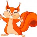 Illustration of cute Squirrel raising his hands...