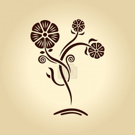 Illustration for Vector vintage flower. Silhouette plants on old paper brown - Royalty Free Image