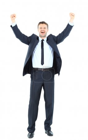Photo for Excited handsome business man with arms raised in success - Isolated on white - Royalty Free Image