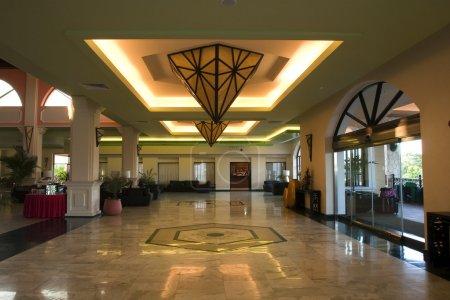 Fancy bright lobby of resort