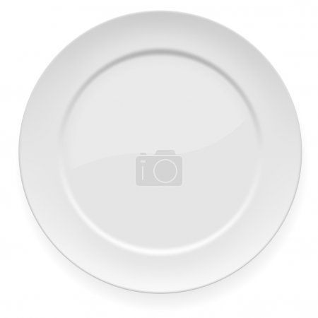 Illustration for Vector illustration of blank white dinner plate isolated on white. - Royalty Free Image