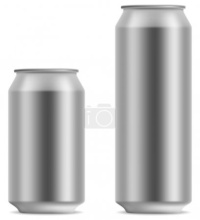 Illustration for Blank beer can in 2 variants 330 and 500 ml isolated on white background. - Royalty Free Image