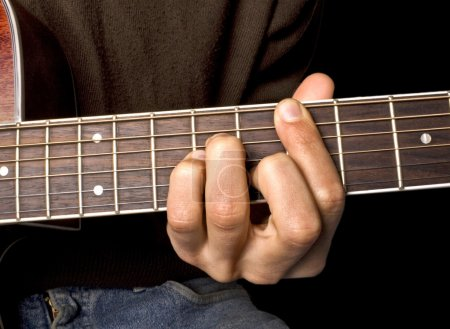 Photo for Brown guitar in hands of the musician - Royalty Free Image