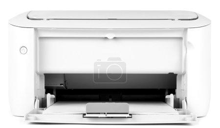 Photo pour Une imprimante blanche sur fond blanc - image libre de droit