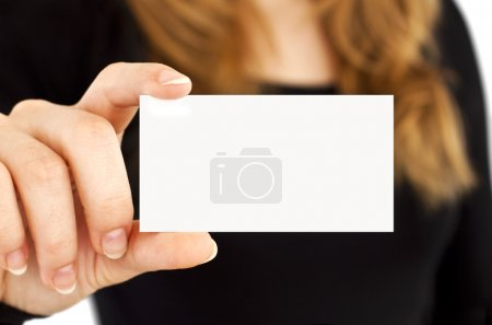 Photo for White card in a hand at the woman - Royalty Free Image