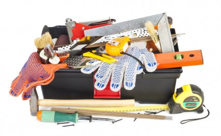 Photo for Toolbox with instruments on white background - Royalty Free Image