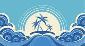 Abstract sea waves Vector illustration of tropical palms on island