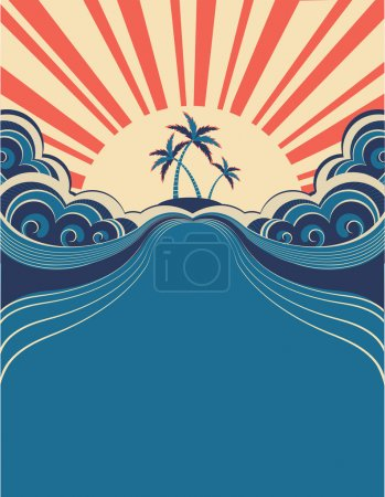 Illustration for Tropical background with palms and sunshine.Vector illustration - Royalty Free Image