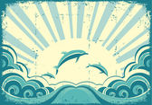 Blue dolphins jumping in sea in summer dayGrunge vector
