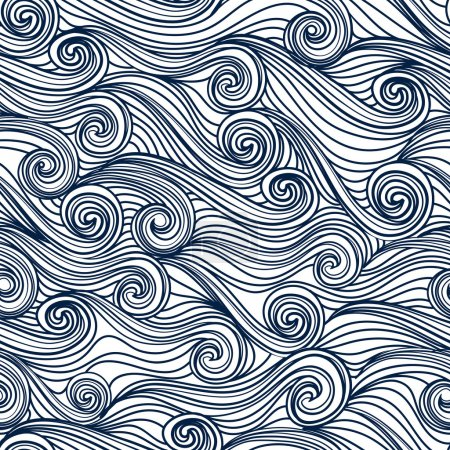 Seamless abstract hand-drawn pattern, waves backgr...