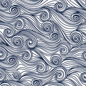 Seamless abstract hand-drawn pattern waves background Vector illustration