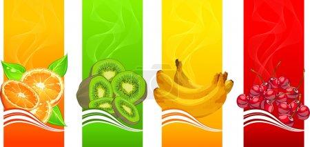 Illustration pour Bannières avec orange, banane, kiwi et cerises sur fond couleur, illustration vectorielle - image libre de droit