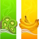 Banners with orange, banana, kiwi and cherries on ...