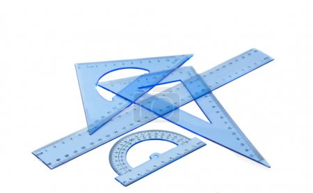 Collection of plastic transparent rulers