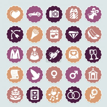 Photo for Retro wedding collection - vector icons and badges - Royalty Free Image