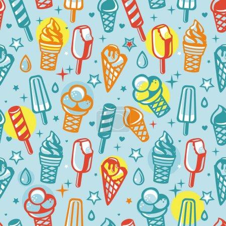 Illustration pour Modèle vectoriel sans couture avec crème glacée dessin animé - fond abstrait - image libre de droit