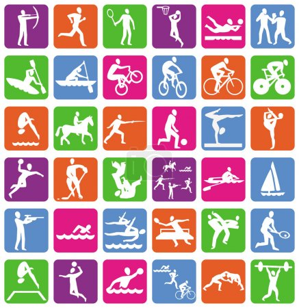 Illustration for Vector collection with 36 sport icons - Royalty Free Image