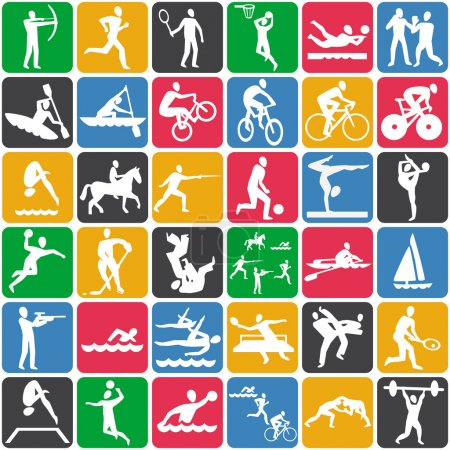 Illustration for Vector seamless pattern with sport icons - Royalty Free Image