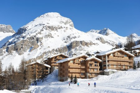 Photo for Mountain ski resort with snow in winter, Val-d'Isere, Alps, France - Royalty Free Image