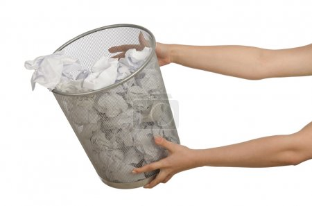 Photo for Hands with garbage bin with paper - Royalty Free Image