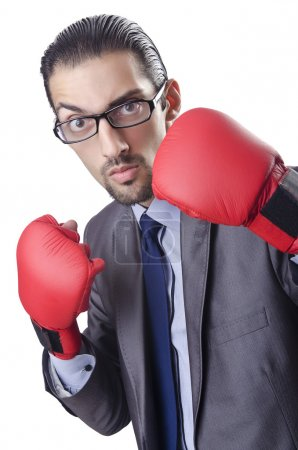 Businessman in boxing concept on white